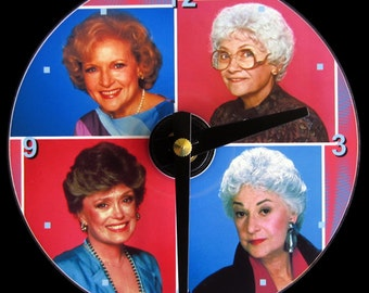 GOLDEN GIRLS Wall Clock - CD Size, 4.75 inch diameter. Betty White, Bea Arthur, Rue McClanahan, Estelle Getty. Televison. Pop art. Nice gift
