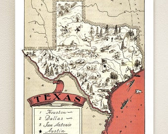 TEXAS MAP PRINT - fun vintage picture map print to frame - perfect gift for many occasions - size & color choices - personalize your print