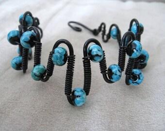Wire Wrapped Lampwork Bracelet