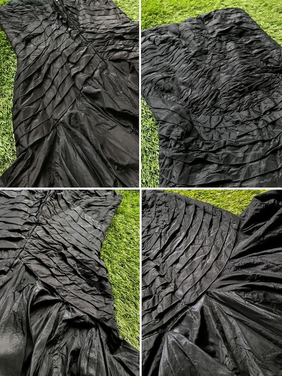 Vintage Mini M Corset 80s Strapless Salon Silk Ruffle Arden Formal SleevelessEvening Black Elizabeth Dress SETA Raffaella The Curiel Pleated rrF7w4q