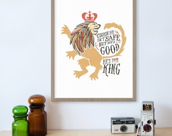 Chronicles of Narnia, Aslan, Narnia Quote, Narnia Art, Lion, He's the King, King Crown, Book Quotes, CS Lewis, Christian Art, Inspirational