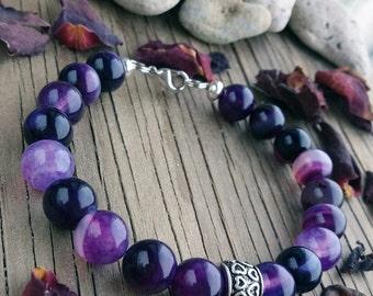 Agate bracelet Gift for wife Stone bracelet Beaded jewelry Gift for girlfriend Womens bracelet Agate jewelry Purple bracelet Gift under 15