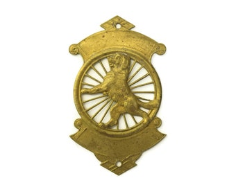 Antique French Bicycle Head Badge with Dog on a Wheel. Art Deco Bicycle Badge. Old Cycle Headbadge. Gift for Cyclist. Bike Accessories.