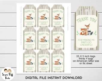 Woodland animals 1st Birthday Party Favor Tags, Instant Download woodland tags, Woodland Thank You Favor Tags, 1st Birthday Favor Tags