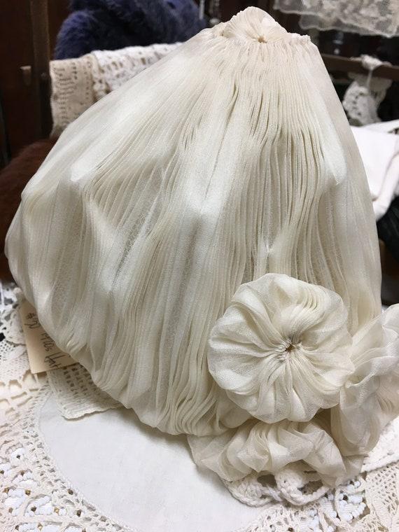 Vintage 1920s Mushroom Cap Hat Pleated White Chiffon