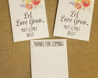 let love grow, wedding favors, seed packet favors,custom seed packets,let love grow seeds,personalized,custom,50 COUNT WITH SEEDS