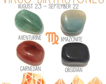 Virgo August 23 - September 22 Birthstones crystal kit 4 tumbled stones with velvet