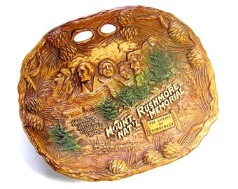 SALE - Mount Rushmore Souvenir Plate by Taco, Faux Bobois Mt Rushmore Plate, Faux Wood Carved Vintage Mount Rushmore Souvenir Plate,