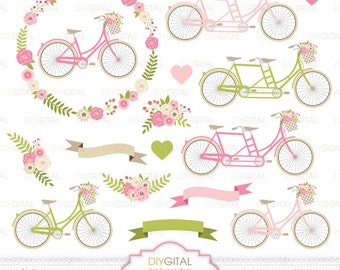 Wedding Bicycles Clip Art- Tandem- Pink Floral Bicycles- Wedding invitations- Floral Wreath- Flower Bicycles- Flower Basket-Banners- Bikes