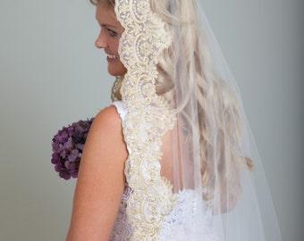 Gold Mantilla Lace Wedding Veil