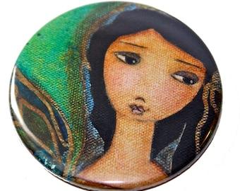 A Perfect Fairy -  Pocket Mirror- Original Art by Flor Larios