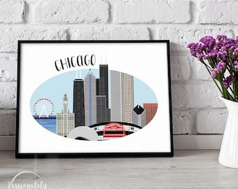 Chicago Skyline Illustration - CHI Illustration - Wall Art - Digital Download