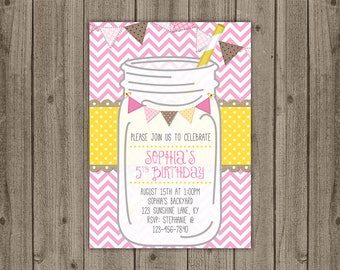 Lemonade Birthday Invite - Mason Jar Invitation - Summer Birthday Invitation - 5x7 JPG DIGITAL FILE