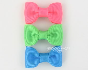 Small Baby Hair Bows 3 Pack of Pinched Bows On Mini Snap Clips for Fine Hair Newborn to Toddler - Non Slip Neon Bright Colors mp