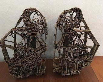 Antique copper tjaps - indonesian batik print stamps. Pair of opposing figures - very rare
