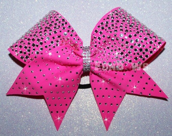 Gorgeous  Neon PINK  rhinestone cheer bow by FunBows ! - Customize This !