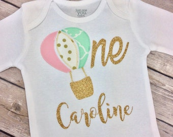 Personalized Pink, Light Mint and Gold Glitter Hot Air Balloon Birthday Onesie w/ Name, Age & Hot Air Balloon, One Year Old, First Birthday