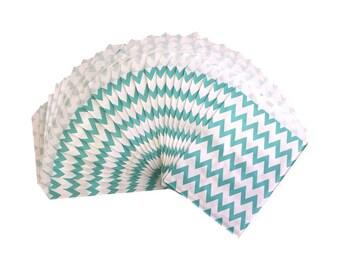 25 Aqua Chevron Stripe Paper Treat Bags - Party Favor Bags - Party Supplies