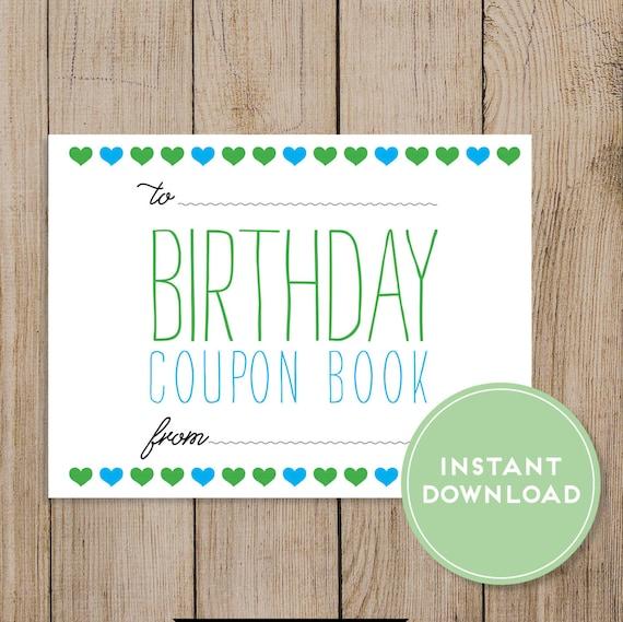 printable birthday coupon book  editable pdf  diy birthday