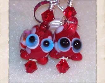 Red Spotted Dino Earrings