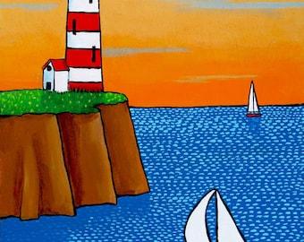 Orange sky- Lighthouse -seascape- Nova Scotia Shelagh Duffett -  Print