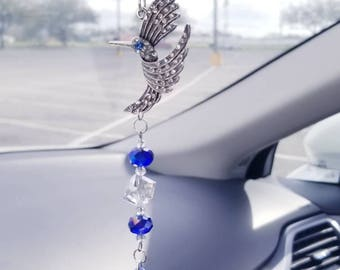 Hummingbird suncatcher, blue crystal prism suncatcher, car accessories, rearview mirror suncatcher, ornament