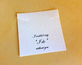 I Do Necklace Cards, Bridal Favor, Set of 30 Jewelry Cards, wedding favor