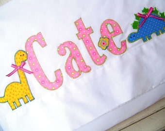 Name Pillowcase With Dinosaurs -Embellished Pillowcase in Pink With Green Polka Dots