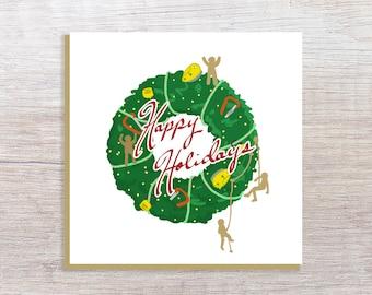 Climbing Wreath Holiday Card 5x5