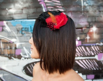 Red Bird feather Headband - Red Feather Cardinal