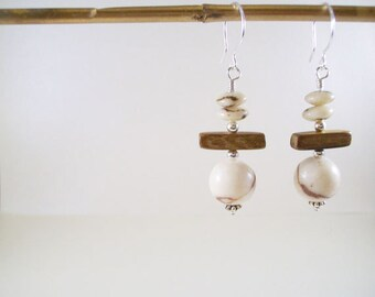 Lima earrings YD-212E / cream and brown, boho, rustic, wood, limestone coral