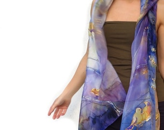 Purple scarf. Silk scarf hand-painted. Art wearable silk bird birdie. autumn yellow grey green OOAK One-of-a-kind Birthday present