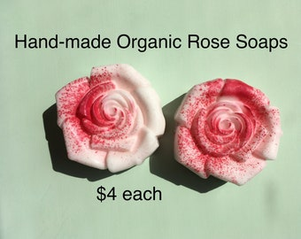 ORGANIC ROSE Soap: Mother's Day Gift for Mom / Handmade Soap Gift Set / Natural Soap Gift for Grandma / Goats Milk Soap / Decorative Soap