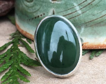 Jade Ring, Sterling Silver Ring, Green Stone Ring, Size 7 Ring