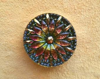 30mm black rainbow floral Czech glass button