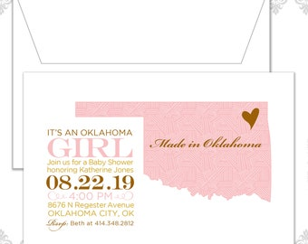 State Baby Shower Invite (available in all states), State Invite, Oklahoma Baby shower Invitation, Custom State Shower Invite, Oklahoma baby