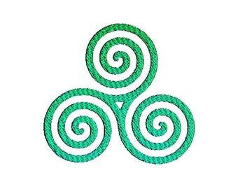 Celtic Triskele Symbol Embroidery Design
