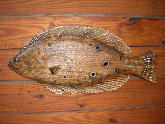 Flounder chainsaw wood fish carving art sealed