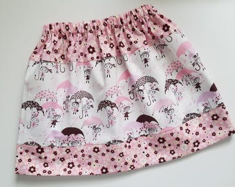 5t Girls Skirt Summer Skirt April Showers Pink and Brown Skirt with Umbrellas 5 toddler Three Tier Skirt with Flowers Unique Ready to Ship