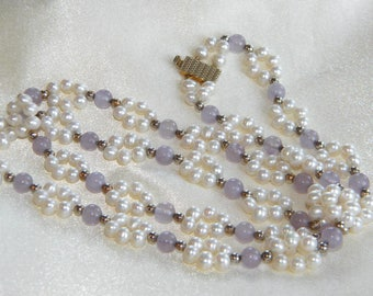 Freshwater PEARLS necklace Amethysts beads ~ lovely ~ inA2650