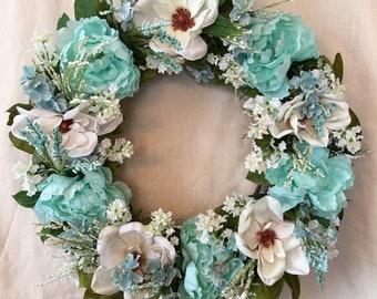 Spring Wreath - Front Door Wreath - Spring Wreaths - Summer Wreaths - Magnolia Wreath - Teal Wreath - Spring Front Door Wreath - Door Wreath