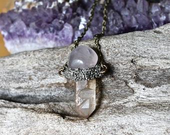 Rose Quartz & Crystal Necklace - Lemurian Seed Quartz Jewelry - Wiccan Jewelry - Raw Crystal Jewelry - Rose Quartz Necklace - Boho Style