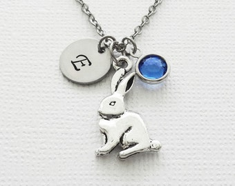 Rabbit Necklace, Easter Bunny Jewelry, Best Friend Gift, Swarovski Birthstone, Personalized, Monogram, Hand Stamped, Silver Letter Initial
