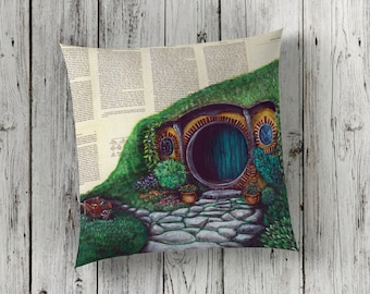 Decorative Pillow of The Shire on Hobbit Book Pages