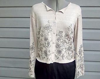Embellished metallic '90's does the 50s' vintage button up sweater by Robert Scott size small