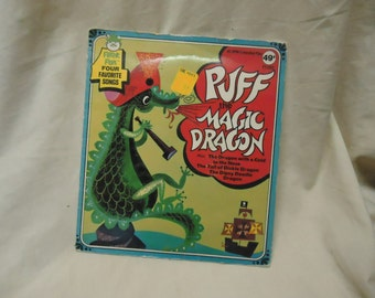 Vintage Puff The Magic Dragon Childrens Record by Peter Pan 45 Rpm, collectable. extended play