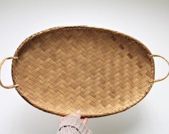 vintage woven basket, rattan basket, bamboo wall basket, large wall basket, boho wall basket, wall basket with handles, vintage rattan tray