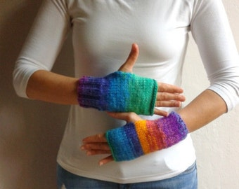 Fingerless Gloves in Rainbow Colors, Mittens, Colorful Gloves