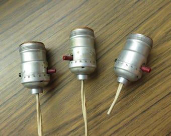 Vintage Lot of 3 Lamp Light Socket Parts Salvage Repurpose