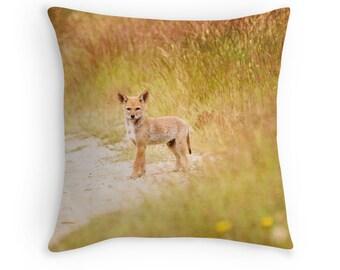 Woodland Animals, Animal Decor, Coyote Pillow, Coyote Cushion, Wildlife Decor, Baby Animals, Animal Throw Pillow, Animal Cushion,Baby Coyote